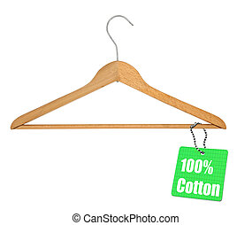 coat hanger and 100% cotton tag