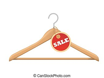 coat hanger and sale tag on white b