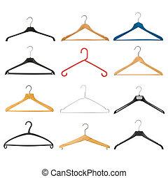 Coat Hanger Set - Set of coat hangers isolated on white...