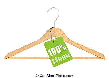coat hanger with hundred percent linen