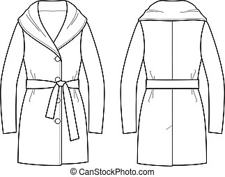 Coat - Vector illustration of overcoat. Front and back
