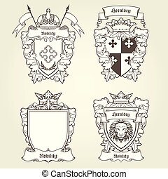Coat of arms and blazons - heraldic shields and imperial emblems