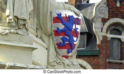 Medieval architectural detail: Bruges coat of arms, Belgium.