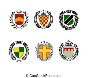 Coat of arms collection. Heraldic shields design template.