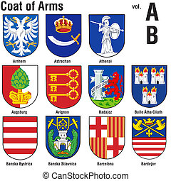 Coat Of Arms Collection - Colored Illustrations, Vector