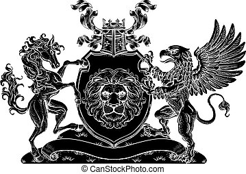 Coat of Arms Crest Griffin Horse Family Shield