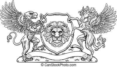 Coat of Arms Crest Griffin Pegasus Lion Shield