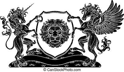 Coat of Arms Crest Pegasus Unicorn Lion Shield