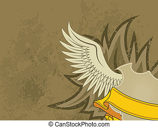 Coat of arms - Grunge background with wings, vector...