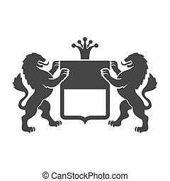 Coat of arms. Heraldic Lions with Shield and Crown. Vector