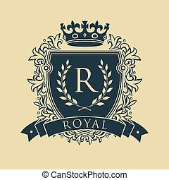 Coat of arms. Heraldic royal emblem shield with crown and laurel wreath. Vector illustration