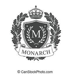 Coat of arms. Heraldic royal emblem shield with crown and oak wreath. Heraldic vector template.