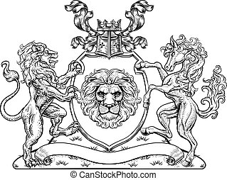 Coat of Arms Horse Lions Crest Shield Family Seal