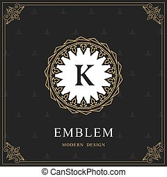 Coat of Arms. Initial Letter K. Heraldic Royal Frame with Crown. Abstract Laurel Wreath. Simple Classic Emblem. Round Composition. Graphics Style. Art Elements for Logo Design. Vector Illustration
