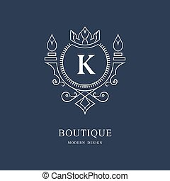 Coat of Arms. Initial Letter K. Heraldic Royal Frame with Crown. Simple Composition. Graphics Style. Logo Design. Abstract Monogram for Personal Emblem, Wedding, Boutique, Hotel. Vector Illustration