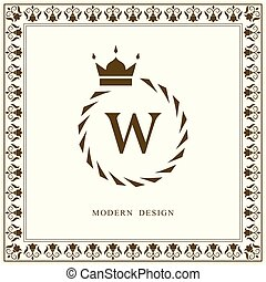 Coat of Arms. Initial Letter W. Heraldic Royal Frame with Crown. Simple Composition. Graphics Style. Logo Design. Abstract Monogram for Personal Emblem, Wedding, Boutique, Hotel. Vector Illustration