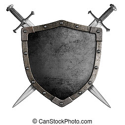 coat of arms medieval knight shield and sword isolated on...