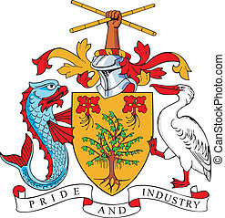 Coat of arms of Barbados - vectorial image of coat of arms...
