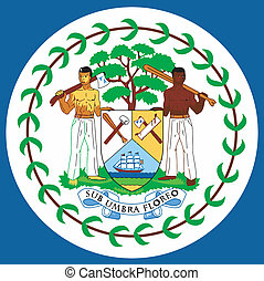 coat of arms of Belize - national arms of Belize on a white...