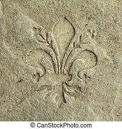 Coat of Arms of Florence engraved in stone