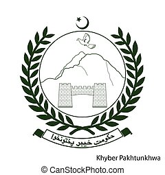 Coat of Arms of Khyber Pakhtunkhwa is a Pakistan region. Vector emblem
