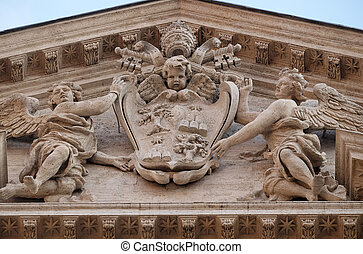 Coat of arms of Pope Alexander VII Chigi on the portal of ...