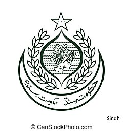 Coat of Arms of Sindh is a Pakistan region. Vector emblem
