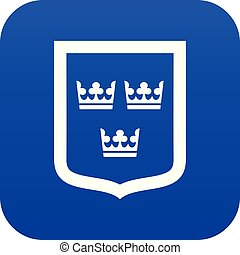 Coat of arms of Sweden icon digital blue