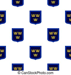 Coat of arms of Sweden pattern flat
