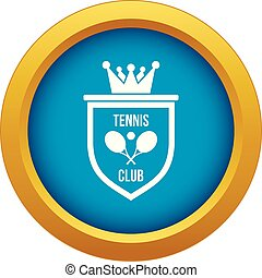 Coat of arms of tennis club icon blue vector isolated
