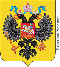 Colorful coat of arms of the Russian Empire. Vector illustration. XIX century.