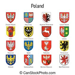 Coat of arms of the voivodship of Poland, All Polish regions emblem collection