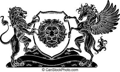 Coat of Arms Pegasus Lion Crest Shield Family Seal