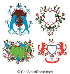 Coat of arms set - funny drawings design with flowers, animals