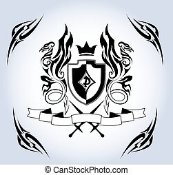 Coat of arms. Shield and two dragons.