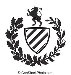 Coat of arms - shield with lion, laurel and oak wreath