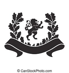 Coat of arms - shield with lion, oak wreath and ribbon.