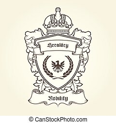 Coat of arms template with heraldic eagle, shield, crown and banner