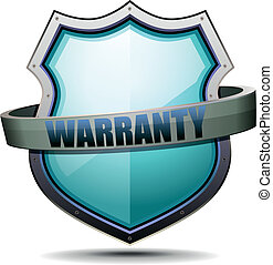 detailed illustration of a coat of arms with warranty writing, symbol for warranty protection, eps 10 vector