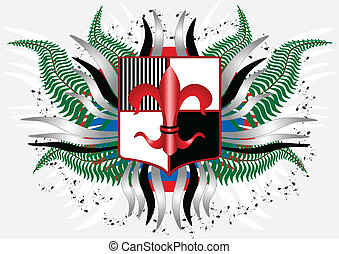Coat of arms with a red lily