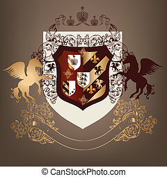 Coat of arms with shield, banner