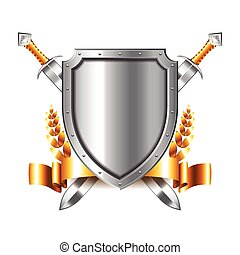 Coat of arms with swords isolated on white vector