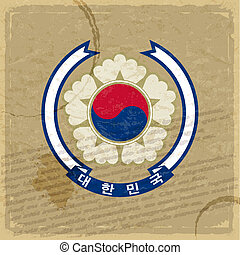 Coat of Korea on an old sheet of paper
