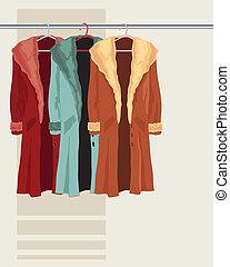 coat on a hanger - illustration of three faux fur coats ...