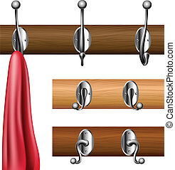 Coat rack set with red clothe