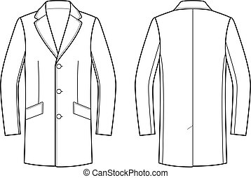 Coat - Vector illustration of coat. Front and back. Clothes...