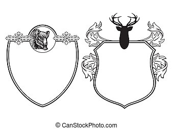 Coat with deer and wild boar