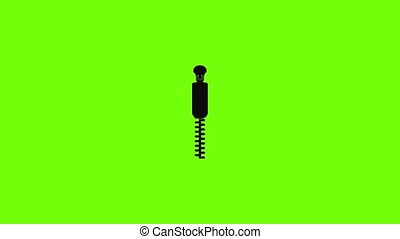 Coat zip icon animation best simple object on green screen background