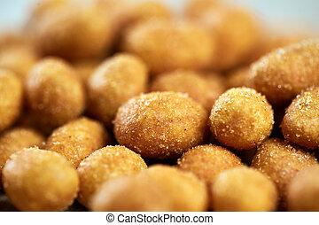 Coated peanuts in closeup