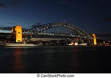 """coathanger"""", bridge., su, más, conocido, luz, uno, famoso, sydney, bien, sydney's, """"the, era, noche, vista, mancha, mella, landmarks., 1932, abierto, transbordador, mid-frame., nombre, puente, puerto"""